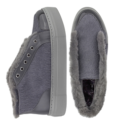 Women's slip-on made of genuine leather Lapti gray on fur with a pony print