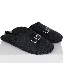 Men's slippers made of felt Lapti black with black thread