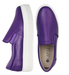 Классические кожаные фиолетовые слипоны (W)