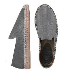 Кожаные лоферы принт крокодил серые