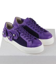 Кожаные фиолетовые кеды боулинг декор цветы (W)