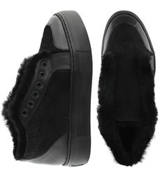 Women's slip-on made of genuine leather Lapti black on fur with a pony print