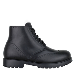 Ботинки мужские из натуральной и фактурной кожи Lapti черные на меху