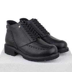 Кожаные черные ботинки утепленные декор из двух фактур кожи (W)