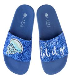 Шлепанцы женские Lapti ярко-синее мерцающие с вышивкой медуза