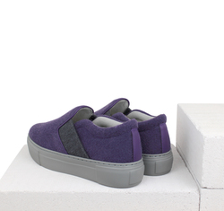 Combined elastic band violet slip-on shoes (W)