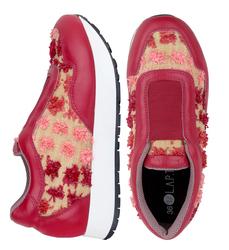 Кроссовки комбинированные красные текстиль цветы (W)