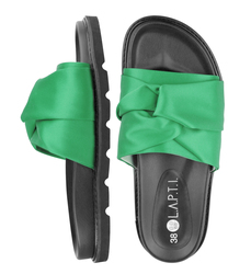 Women's flip-flops made of textile Lapti green with bow