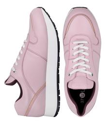 Кожаные кроссовки цвета пудры с лаковой вставкой (W)