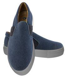 Combined elastic band blue slip-on shoes  (W)