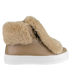 Women's boots made of genuine leather Lapti beige with false fur