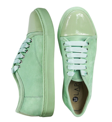 Women's sneakers made of suede Lapti menthol with patent leather insert