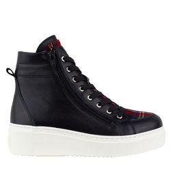 Кожаные черные ботинки на утеплителе с текстилем клетка (W)